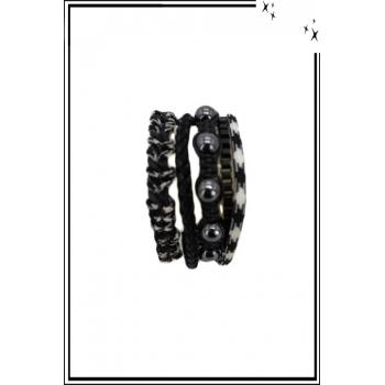 Bracelet manchette - 5 rangs - Perles façon hématite, chaînes - Noir
