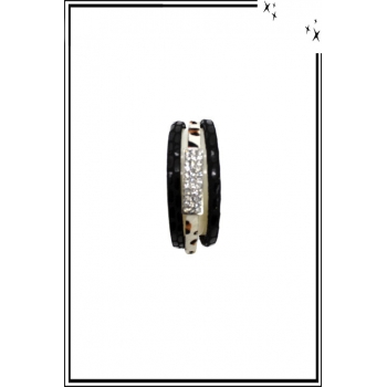 Bracelet manchette - Stella Green - 3 rangs - Strass et détails léopard - Noir