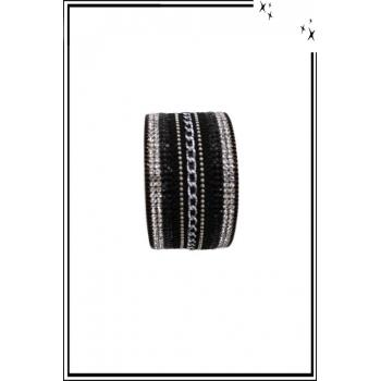 Bracelet manchette - Stella Green - Chaînette et strass - Noir