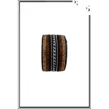 Bracelet manchette - Stella Green - Chaînette et strass - Marron