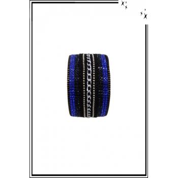 Bracelet manchette - Stella Green - Chaînette et strass - Bleu