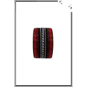 Bracelet manchette - Stella Green - Chaînette et strass - Rouge