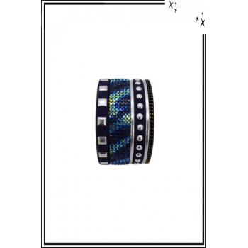 Bracelet manchette - Stella Green - Glam Rock - Clous et chaînettes - Bleu marine