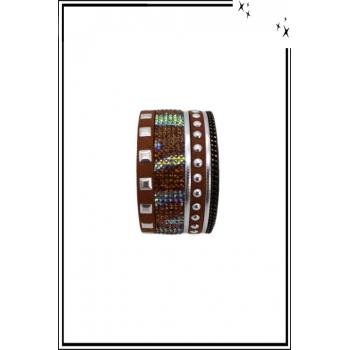 Bracelet manchette - Stella Green - Glam Rock - Clous et chaînettes - Marron