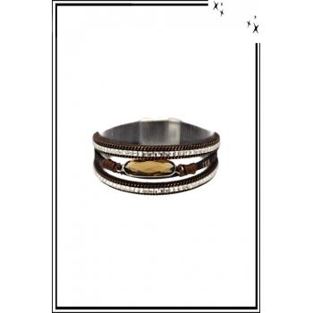 Bracelet manchette - Stella Green - 3 rangs - Pierre et strass - Chocolat