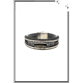 Bracelet manchette - Stella Green - 3 rangs - Pierre et strass - Gris