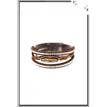 Bracelet manchette - Stella Green - 3 rangs - Pierre et strass - Marron