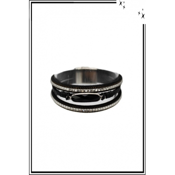 Bracelet manchette - Stella Green - 3 rangs - Pierre et strass - Noir