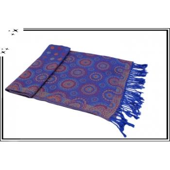 Pashmina - Rosaces et pois - Bleu roi