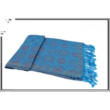 Pashmina - Rosaces et pois - Turquoise