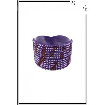 Bracelet manchette - Double tour - Strass - Motifs zébrés - Violet