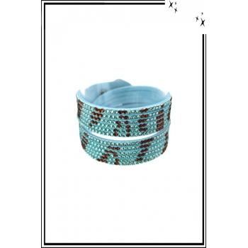 Bracelet manchette - Double tour - Strass - Motifs zébrés - Turquoise