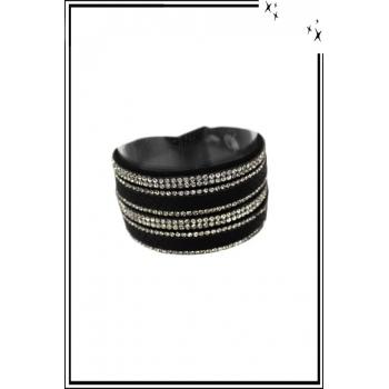 Bracelet manchette - Double tour - Strass - Motif python - Noir