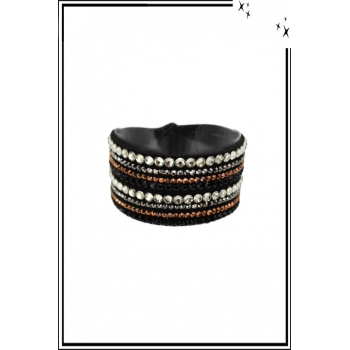 Bracelet manchette - 4 rangs - Double tour - Strass - Noir
