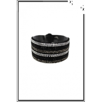 Bracelet manchette - 3 rangs - Double tour - Strass - Noir