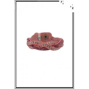 Bracelet - 3 rangs tressés - Clous et strass - Rose