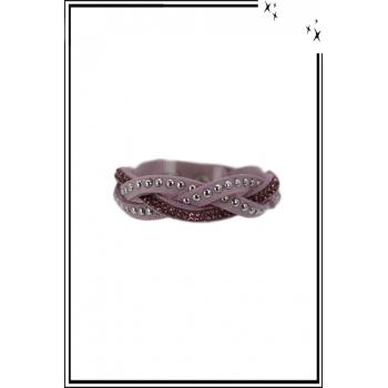 Bracelet - 3 rangs tressés - Clous et strass - Violet