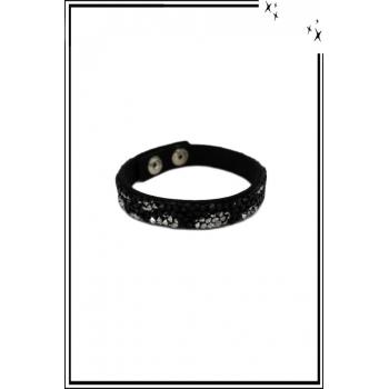Bracelet - Pierres et strass - Noir / Argenté