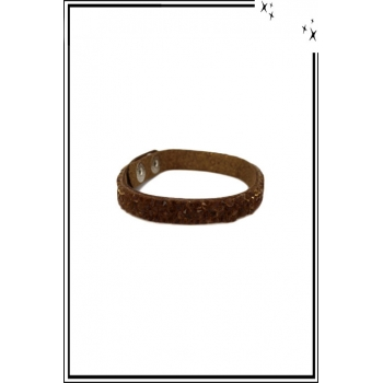Bracelet - Pierres et strass - Marron