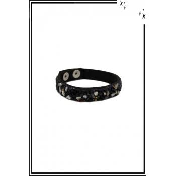 Bracelet - Pierres et strass - Noir / Gris / Bleu