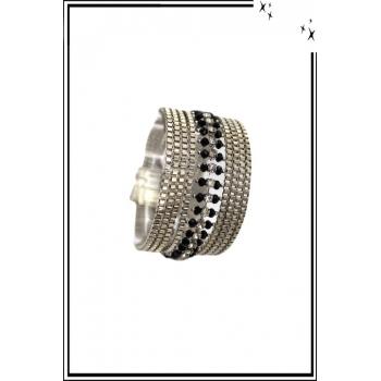 Bracelet manchette - Stella Green - 9 rangs - Argenté / Noir