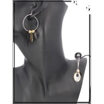 Boucle d'oreille - Pampilles - Triple gouttes - Multicolore