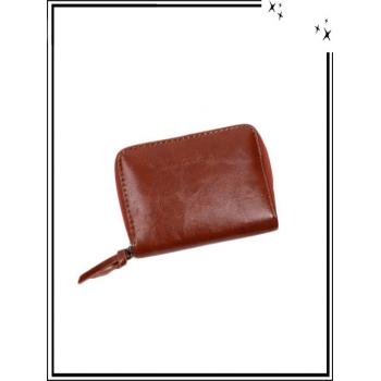Porte-monnaie Inès de Laure - Haut de gamme - Petit format - Aspect vernis - Camel