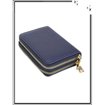 Porte monnaie - Double compartiment - Aspect texturé - Bleu marine