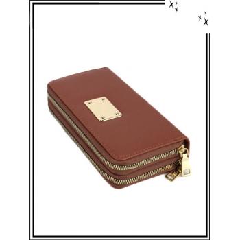 Portefeuille - Double compartiment - Plaque dorée - Aspect saffiano - Chocolat