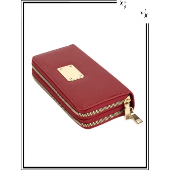 Portefeuille - Double compartiment - Plaque dorée - Aspect saffiano - Rouge
