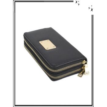 Portefeuille - Double compartiment - Plaque dorée - Aspect saffiano - Noir