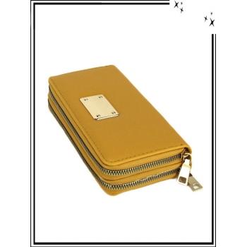 Portefeuille - Double compartiment - Plaque dorée - Aspect saffiano - Moutarde