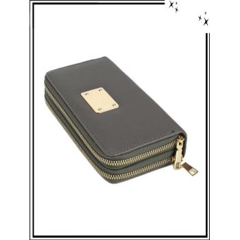 Portefeuille - Double compartiment - Plaque dorée - Aspect saffiano - Kaki
