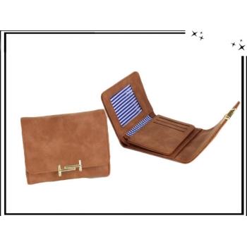 Porte monnaie - Aspect suédine et fermoir doré - Camel