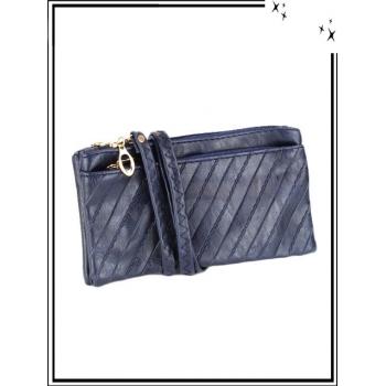 Pochette à bandoulière - Double compartiment - Motifs diagonales - Bleu marine