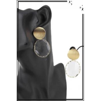 Grande boucle d'oreille - Pierre translucide - Forme ovale - Blanc et doré