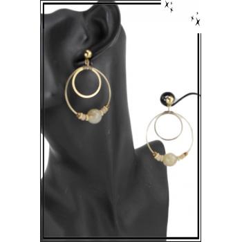 Grande boucle d'oreille - 2 anneaux - Grosse perle