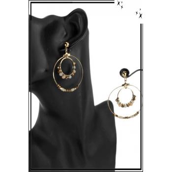 Grande boucle d'oreille - 2 anneaux - Petites perles