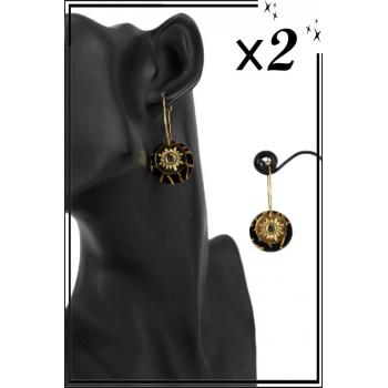 Boucle d'oreille en résine - Soleil et perle - Noir et ambré -x2