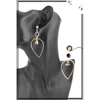 Boucle d'oreille - Forme goutte - Pierre noire et perles