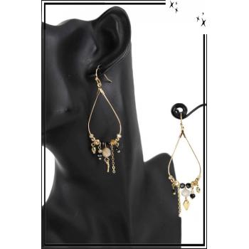 Boucle d'oreille - Forme goutte - Pierres et perles