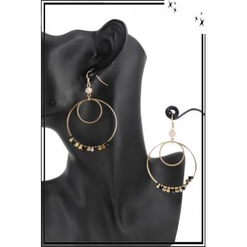 Boucle d'oreille - Forme ronde - 2 anneaux et perles