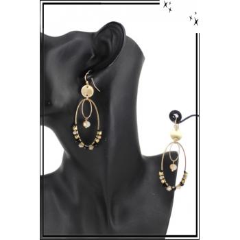 Boucle d'oreille - Forme ovale - 2 anneaux et perles
