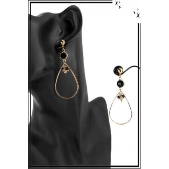 Boucle d'oreille - Forme pétale - Pierre noire et perles
