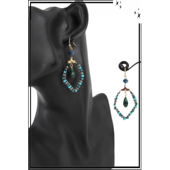 Boucle d'oreille - Perles et pierre - Turquoise