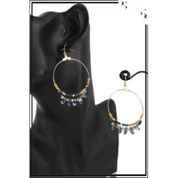Boucle d'oreille - Forme ronde - Pierre et perles - Bleu et turquoise