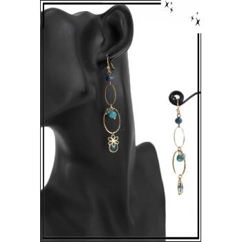 Boucle d'oreille pendante - 2 anneaux - Perles, pierres et fleur