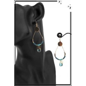 Boucle d'oreille - Forme goutte - Perles, pierres et fleur