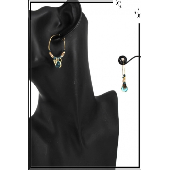 Boucle d'oreille - Forme ronde - Perles et pierre