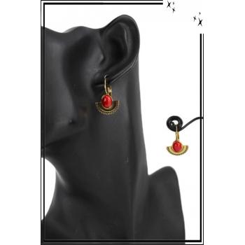Boucle d'oreille - Inspiration Ethnique - Pierre rouge